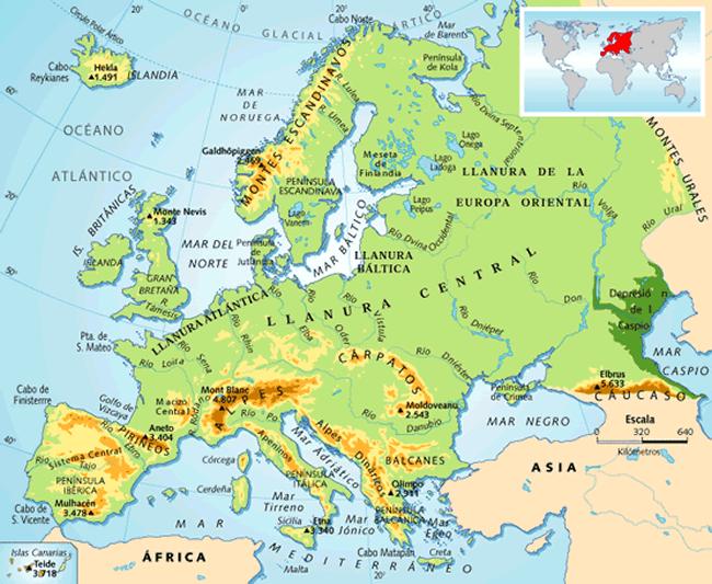 Mapa Fisic D Europa Rius.Geografia Fisica Dels Continents
